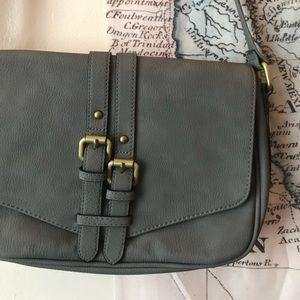NWOT Beautiful gray Merona messenger purse